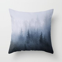 Misty fantasy forest. Throw Pillow by Guido Montañés