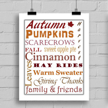 Autumn Word Art Decoration Print - Instant Download (PDF/JPG)