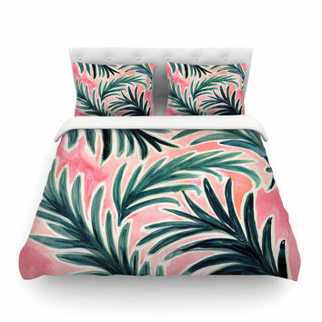 "Crystal Walen ""Lush Palm Leaves "" Green Pink Featherweight Duvet Cover"
