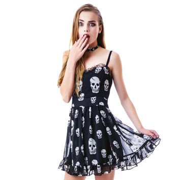 2016 Backless Summer Style Skull Sexy Women Lace Chiffon Dress Cute Black Short Dress Party Wear Sleeveless Open Back Mini Dress