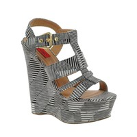 London Rebel Wedge With Chunky Straps In Monochrome Print