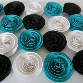 """Dark Teal, Black and White Wedding flowers, Baby shower decorations, set of 24, 1.5"""" paper roses, made with care, Loved one gift, love"""