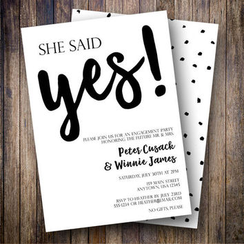 She Said Yes Party Invitation, Engagement Party Invite, Minimalist, Couples Shower Invite, Engaged, We're Engaged, Simple in Black and White