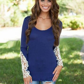 Lace Embroidered Long Sleeve Sweat Shirt