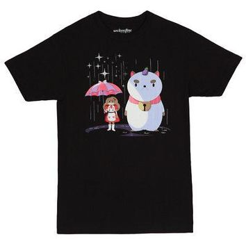 Bee & PuppyCat In The Rain Cartoon Hangover Licensed Adult T-Shirt - Black - XL
