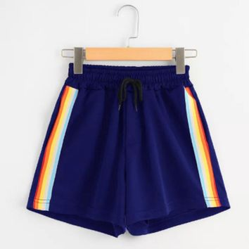 Stripe Shorts Womens Striped Mid Waist Loose Shorts Drawstring Waist Ringer Shorts Of Female Summer Casual Brand Shorts