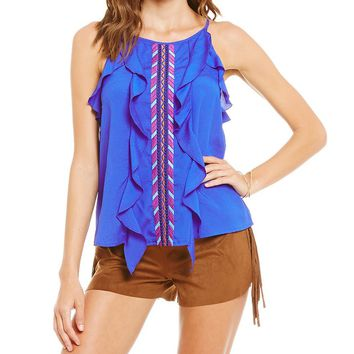 GB Embroidered Ruffle Tank | Dillards