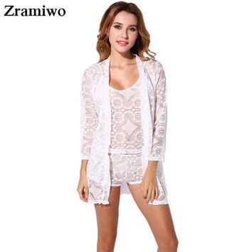 ONETOW Vintage Lace Robe and Cami Set Hollow Out Pajamas Very Hot  Nightgowns Pretty Nighties Women's Sleepwear Sets