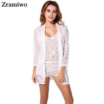 DCCKU62 Vintage Lace Robe and Cami Set Hollow Out Pajamas Very Hot  Nightgowns Pretty Nighties Women's Sleepwear Sets
