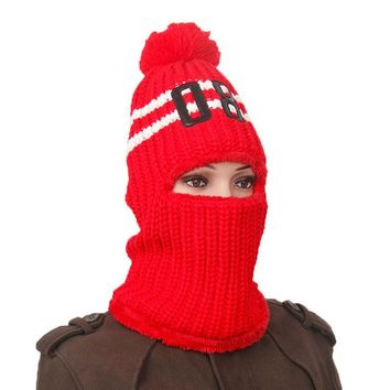 Sports Hat Cap trendy  Knitted hat Outdoor Sports Thermal Neck Balaclava Hat Winter Windproof Skiing Ear Warm Neck Mask Number Cap KO_16_1