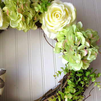Green hydrangea and cream rose wreath. summer wreath. wreath for summer. front door wreath. summer floral decor.