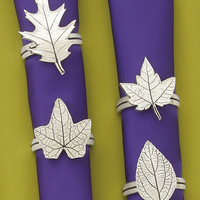 Assorted Leaves Pewter Napkin Rings (Set of 4) by Basic Spirit