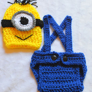 Baby Boy Crochet Despicable Me Outfit. Minion Costume. Infant Halloween Costumes Baby