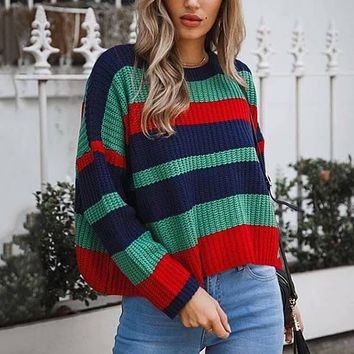 Striped Colorblock Crew Neck Knit Chunky Pullover Sweater