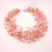 FREE SHIPPING Red white necklace air necklace valentine's day necklace bib necklace spring summer trend jewelry
