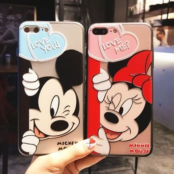 RHOADA Cute Cartoon Relief Mickey Minnie Mouse Phone Case For iphone 6S 6s Plus 7Plus 8 Plus iphone X Couple Phone Coque TPU+PC