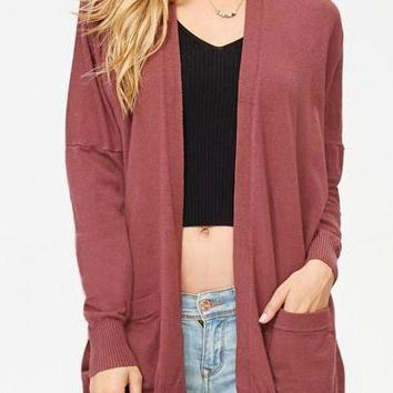 Ava Cardigan In Dust Plum