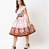 1950s Style Pink Manor Print Amy Swing Dress