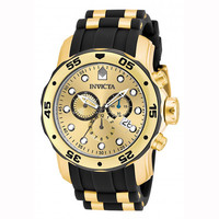Invicta 17885 Men's Pro Diver Gold Tone Dial Chronograph Dive Watch