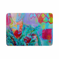 "Cecibd ""Girl With Plants I"" Lavender Nature  Memory Foam Bath Mat"