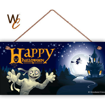 "Happy Halloween Sign, Mummy and Witch, Trick or Treat, Halloween Door Sign, 5"" x 10"" Sign, Holiday Sign, Spooky Sign, Made To Order"