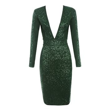 Bend The Rules Green Sequin Long Sleeve Plunge V Neck Bodycon Bandage Midi Dress