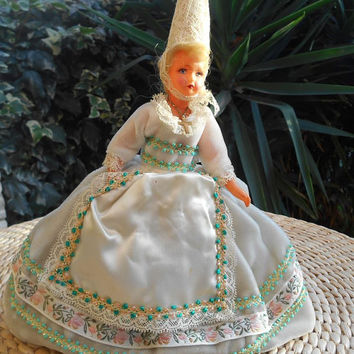 50's French Brittany Celluloid Doll White Velvet  Folk Art Costume Lace Bonnet Hand Painted Face Apron Crucifix