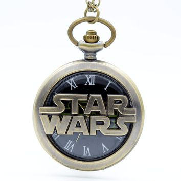 Fashion STAR WARS Sci-fi Science fiction movies Black Dial Quartz Pocket Watch Analog Pendant Necklace Mens Womens Watches Gift