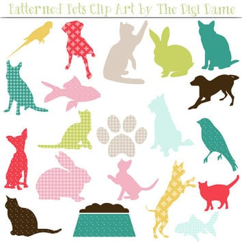 Digital Scrapbooking Elements/Clip Art: INSTANT DOWNLOAD Patterned Pets Silhouettes - Dogs, Cats, Birds, Fish and Rabbits