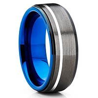 Blue Tungsten Wedding Ring - Gunmetal  - Black Tungsten Ring - Black Ring