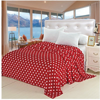 "Soft Touch King Size (102"" x 86"") Polka Dot Micro-Fleece Blanket - Red"