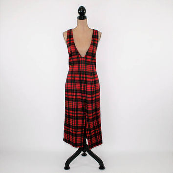 Red and Green Tartan Plaid Jumper Dress Women Small Medium Winter Dress Scotch Plaid Dress 90s 1990s Vintage Clothing Womens Clothing