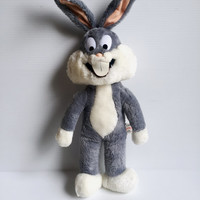 BUGS BUNNY PLUSH Animal, Stuffed Bugs Bunny, vintage Bugs Bunny, Warner Brothers stuffed animal, 1989 stuffed Bugs Bunny, cute Bugs toy