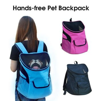 Pet Carrier Big-size Hands-free Travel Sport Outdoors Double Shoulder Pet Backpacks Portable Cat Puppy Mesh Carrier Bag Pet Dog