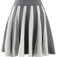 Strips Knitted Skirt in Grey