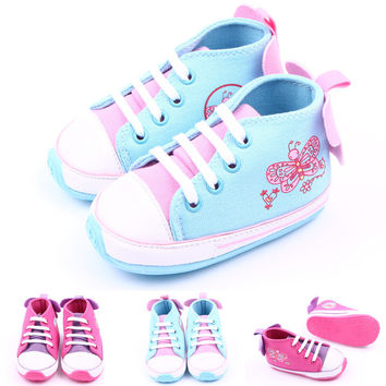 2016 hot new fashion baby girl's canvas sneakers butterfly printing applique kid's children's shoes skid-proof baby toddler shoe