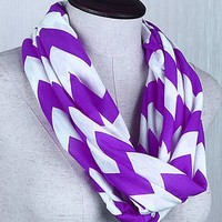 Chevron Infinity Scarf Cotton Double Layer Loop (Purple)