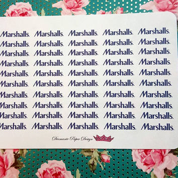 50 kiss cut and ready to peel off Marshalls Stickers! Perfect for your Erin Condren Life Planner, Filofax, Kikkik, Plum Paper