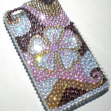 Stunning Pink Tropical Flower Design Crystal Diamond Rhinestone BLING Back Case for Apple iPhone 4 4G 4S made with Swarovski Elements