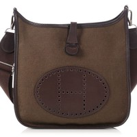 HERMES Brown Barenia and Olive Canvas Evelyne PM Bag ~ An uptown sporty flair!