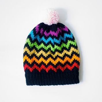 Chevron Beanie Slouchy Knitted Hat with Pom Pom - Rainbow