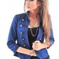 Military Open Front Denim Jacket - Diva Hot Couture