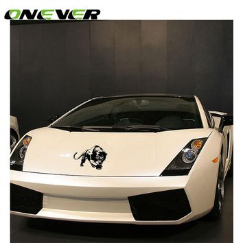 "Onever 7.7*5.4"" Cool Tiger Car Sticker Car Front Body Window Wall Car Styling Sticker For Lamborghini Audi Car Accessories"