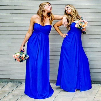 Strapless Prom Dresses,Royal Blue Prom Dress,Long Evening Dresses