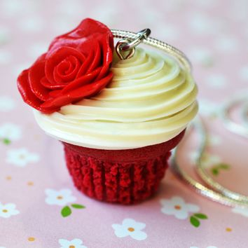Red Velvet Rose Cupcake Necklace, Polymer Clay, Miniature Food Jewelry