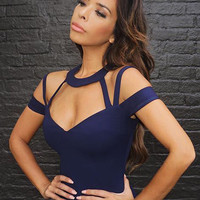 Juliet Navy Choker Bandage Dress with Cutouts