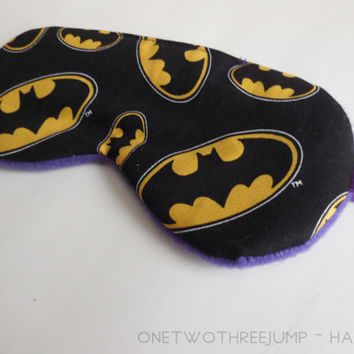 Sleeping Mask - Batman Sleep Mask - Purple Fleece - Soft Dark Travel Eye Mask - Elastic - Woman Pre Teen Gift - DC Comics
