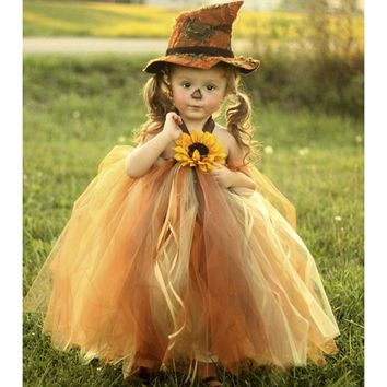 Scarecrow Halloween Girl Pumpkin Tulle Tutu Dress Girls Pageant Party Trick or Treat Tutu Dresses For Kids Thanksgiving Outfit