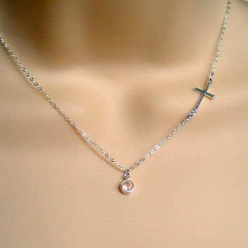 Sideways Cross Necklace, Sterling Silver Cross Necklace, Side Cross, Small Cross, Tiny Cross, Dainty, First communion gift, Everyday jewelry