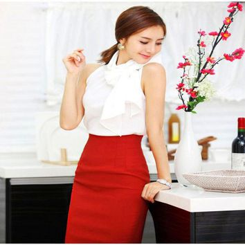 6 Colors Ol Women Retro Slim Fitted Knee Length Fitted Business Bodycon Career High Waist Straight Pencil Skirts Drop Shipping